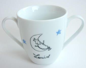 Double handles Cup Moon boy personalized porcelain