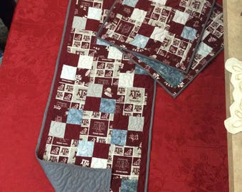 Texas A and M table runner with placemats