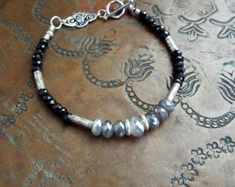 Mystic Coated Labradorite Black Spinel and Hill Tribe Sterling Silver Bracelet