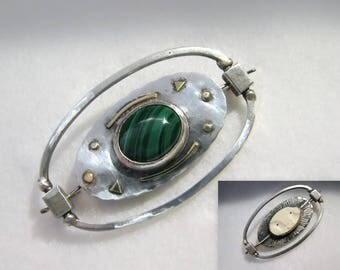 Vintage 1995 DEIRDRE DONCHIAN Signed Reversible Brooch -- Sterling with Pure 18k/22k Gold Accents, Malachite and Carved Cow Bone Face