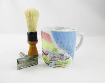An Ironstone Mustache Mug - Multi-colored - Country Scene - Decorated - Mustache or Shaving Mug - Blue - Orange - Lavender - Yellow