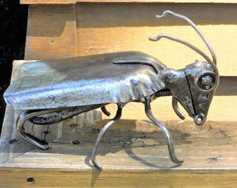 Beetle Metal Sculpture Garden Art Yard Art Found Objects
