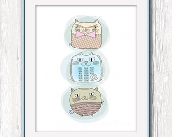 Nursery printable art Potato Cats wall decor. 8x10 inch nursery art wall decor cat illustration. Childrens room decor. Printable animals.
