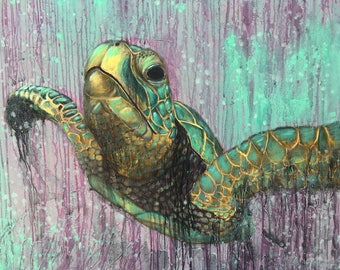 Sea Turtle Original Large Painting by Artist Rafi Perez Mixed Medium on Canvas 40X46