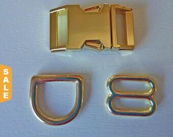 Puppy Love Sale - 40% Off Upgrade! Gold Metal Hardware Upgrade - 5/8, 3/4 & 1 Inch
