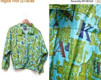 ON SALE 90s Turquoise Alphabet Patterned Windbreaker Zip Up Jacket Women's Small