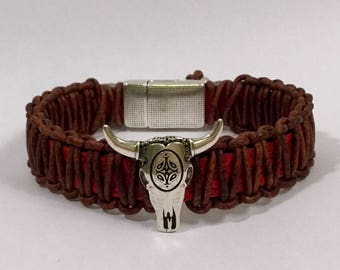 Southwestern Style  Leather Bracelet with Cow Skull