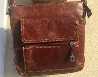 Giani Bernini Warm Brown Leather Purse Boho