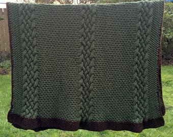 Celtic Knot Afghan/Vintage Afghan/St Patrick's Day/Handmade Afghan/Camp Blanket/Cable Stitch Afghan/52 x 66 Blanket/Celtic Couch Throw