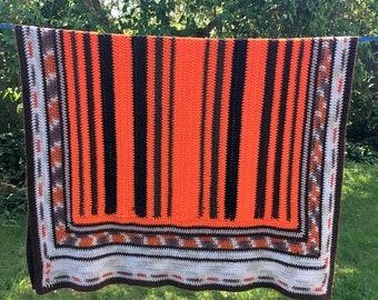 17% OFF SALE Western Theme Throw/Crocheted Camp Blanket/Southwest Colors Afghan/ Handmade Blanket/ Orange Brown Tan Cream/ 42 x 60 Throw/Hea