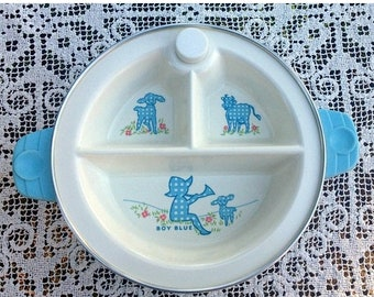 Save 15% OFF 3 Section Baby Dish/Excello Warming Dish/Little Boy Blue/Vintage Baby Gift/Child's Warming Dish/Excello Baby Dish/3 Section Dis