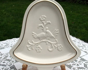 """Save 15% OFF Lovebirds Ceramic Bell Tray - First Christmas Wall Hanging - Pfaltzgraff Heritage - 10.5"""" x 9"""" - Wedding Bridal Shower Gift VG"""