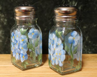 Hand Painted Salt and Pepper Shakers (Set of 2)  - Blue Hydrangea on Clear Glass
