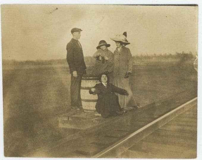 Vintage Snapshot Photo: Down by the Railroad Tracks, c1910s (711622)