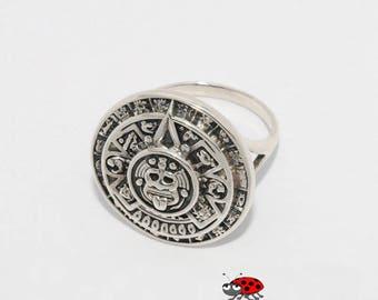Maya Calendar Ring / Sterling Silver
