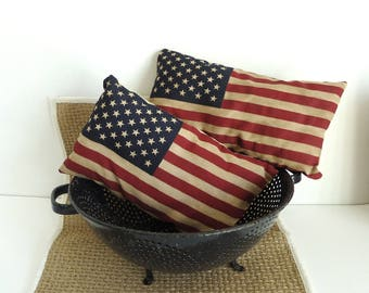 Patriotic American Flag accent pillow, up cycled vintage flag, colonial home, Shelf Sitter, Country Primitive, porch patio deck decor,