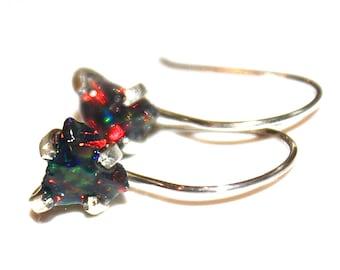 Raw Opal Earring Black Opal Earring Opal Shard Earring Raw Opal Stud Earring Organic Earring Tumbled Opal Jewelry Raw Earring