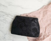 Black kiss lock clutch   Black floral small clutch   Brocade patterned purse