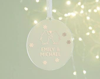 Couple's Christmas Decoration Rose Gold
