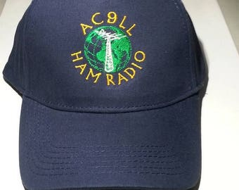 HAM RADIO Hat  -  Custom EMBROIDERED in CrushProof Box with World Design & Callsign or Name  H2