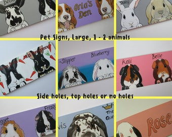 Personalised Pet Sign 1 to 2 animals with cartoon style portrait picture of your animal rabbit guinea pig cat dog goat horse hamster etc