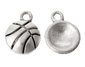 25 Pieces Antique Silver Basketball Charms