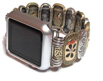 Two Tone Apple Watch Band - BeadsnTime - Stretch Apple Watch Band - Designer Apple Watch Band - Womans Apple Watch Band - 38mm or 42mm Band