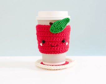 Crochet Cozy Cup with Coaster - The Red Apple / Coffee Cozy, Coffee Warmer, Tea or Coffee Lover Gift, Cup Cozy, Tea Cozy.