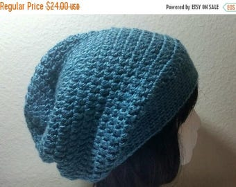 Clearance Turquoise Blue Slouch - Crochet Slouchy Beanie - Womens Slouchy Hat - Hipster Hat