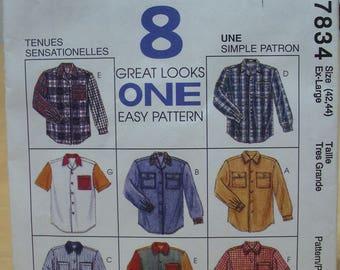 Free shipping! McCall's 7834 Unisex shirt sewing pattern Ex-Large 42 44 UNCUT