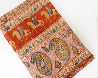 Vintage Indian Block Print Batik Bedspread - Vintage Indian Cotton Textile - Old Indian Fabric - Old Block Print Bedsprad - Boho Decor