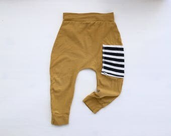 Baby Harem Pants   Grow With Me Pants   Baby Harems   Baby Joggers   Hipster Baby Pants   Toddler Harem Pants   Mustard Pocket Baby Harems