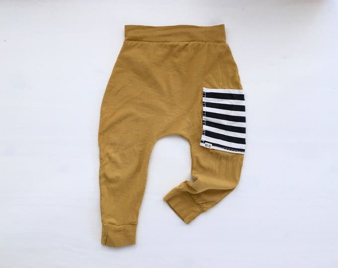 Featured listing image: Mustard Sidecar Pocket Baby + Toddler Harem Pants/ Leggings