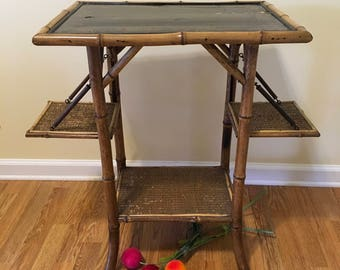 Antique ENGLISH VICTORIAN Side Flap TABLE, Circa 1880, Decoupage, Antique Bamboo, Bamboo Side Table w/ Shelves, 4 Shelves at Ageless Alchemy