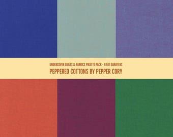 Peppered Cottons, Studio E Fabrics, Pepper Cory, Pikette Fat Quarter Pack, 6 FQ Shot Cottons