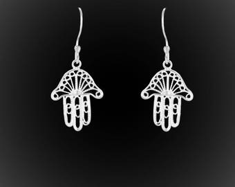 Hand of Fatima earrings in silver embroidery