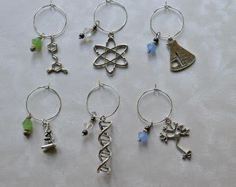 Biolojewelry - Set of 6 Science Theme Wine Charms