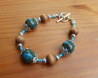 Bracelet - Blue and Brown Handmade Beaded Bracelet with Silver Leaves - Nature, Hippie, Boho, Earthy, Natural Jewelry