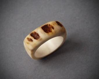 Antler ring, Size 7 US, Antler rings, Antler jewelry, Elk antler, Moose antler, Women ring, Bone ring, Bone jewelry, Unusual ring, Rings