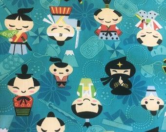 NEW!  Fabric by the yard! Ninjas - Samurais - swords -Japanese = cotton