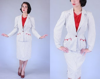 1950s Insulux suit | vintage 50s white summerweight suit with navy windowpane & red details | xs/s