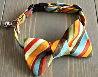 Fall Stripes Fabric Cat Collar with Matching Bow Tie, Breakaway Clasp, Safety Buckle, Adjustable, Bell, Retro, Striped, Handmade in Canada