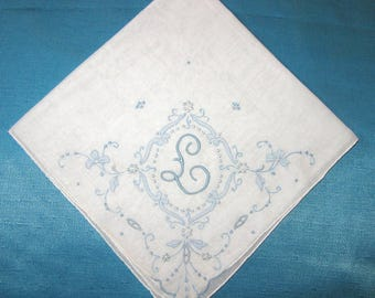 Initial Handkerchief Embroidered Wedding Handkerchief Monogrammed Hankie BLUE Bride Handkerchiefs Initial D, J, E, F or  L