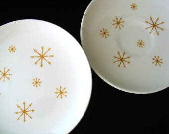 Star Glow by Royal China (USA) Vintage 1960s 6 Piece Set Bread Plates and Saucers