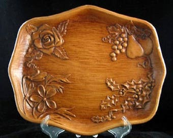 Faux Wood Serving Tray by Multi Prod USA with Fruits and Holly Vintage