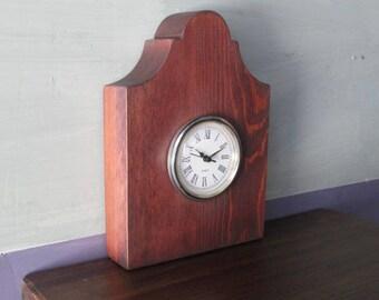 Handmade Mantle Clock/Recycled Wood/Salvaged Wood/Small Clock/Table Clock/Stained Clock/Solid Wood Clock/Quartz Clock