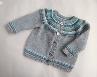 Hand knit baby sweater, hand knit baby cardigan, unisex sweater, modern baby clothes, baby gift, grey aqua stripes, baby to 4 months