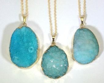 10% off CIJ SALE Druzy Necklace Blue Druzy Pendant Druzy Gold Dipped Blue Druzy Geode Necklace Teardrop Druzy Jewelry Mineral Necklace Gold