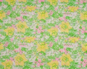 Vintage floral fabric design, Martha Nell by Zuzek Key West, Hand Print Fabric