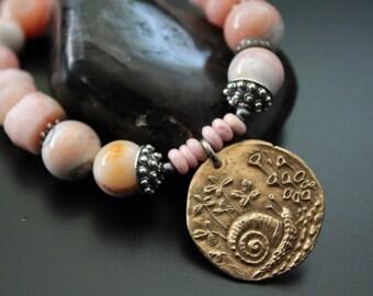 Pink opal and Green Girl Studios snail garden bracelet, gemstone charm bracelet, boho stretch stacking bracelet, coral pink gift for her